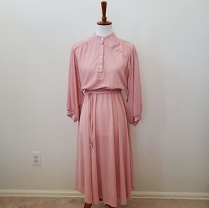 Vintage Trolley Car Long Sleeve Modest Dress Belt